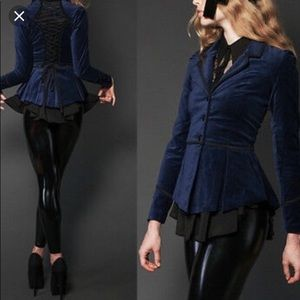 Steampunk corset back velvet blazer goth